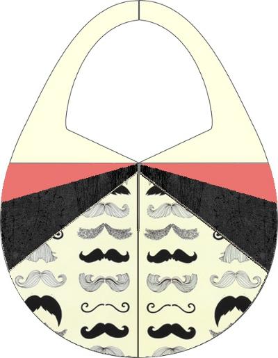 """Tissu de haut en bas : Toile de coton crème, coton-lin rose saumon, """"Terra in black"""" de P&B textiles, """"Mustache"""" d'Alexander Henry"""