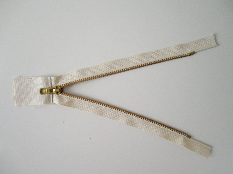 Right side of the now closed end zipper