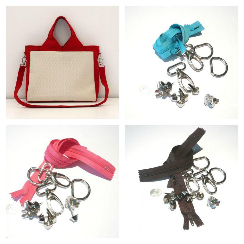 Kits fournitures proposé par la Mercerie des Créateurs pour réaliser votre sac Foxtrot !