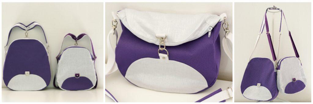 De gauche à droite : mode sac à dos, mode besace et mode bandoulière - Tissus : Toile à sac violette et lin lamé de La Mercerie des Créateurs