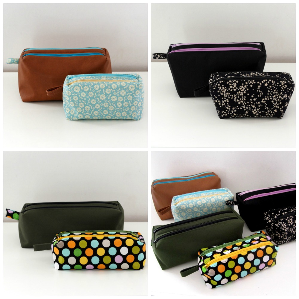 Compartmentalized, double zippered pouches pattern