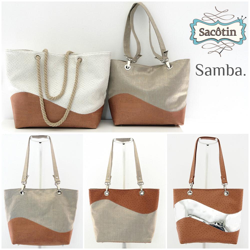 Patron de cabas estival Samba Sacôtin : 2 tailles, 3 versions et 2 styles de anses