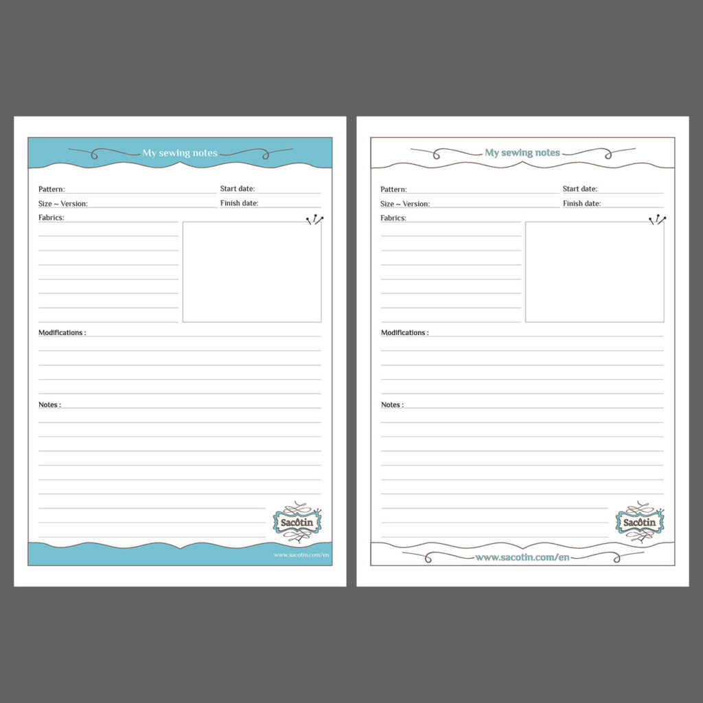 Sacotin - My Sewing notes templates