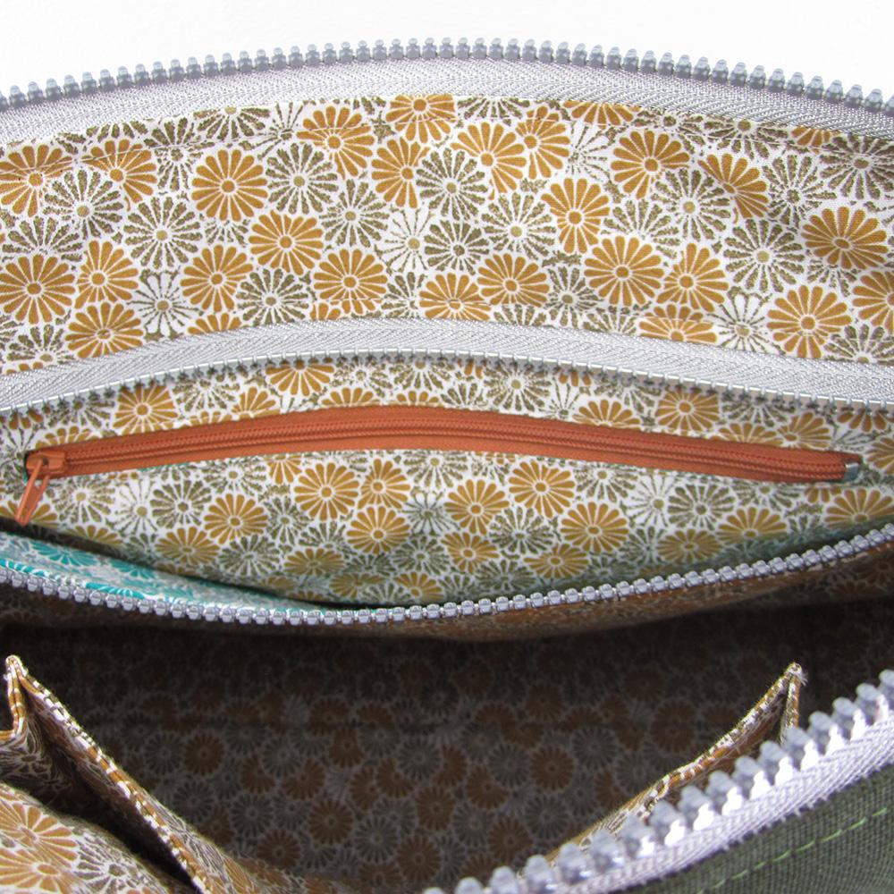Petite poche zippée dans la grande poche- Sac Biguine Sacôtin